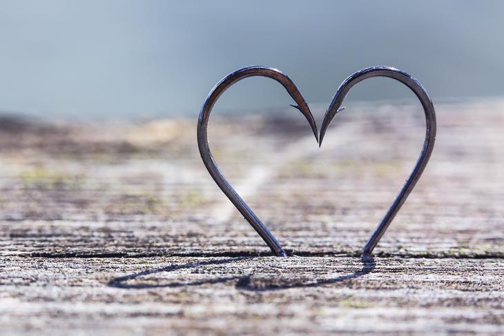 Insula Danmarks hjertekroge - to fiskekroge, der danner et hjerte