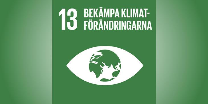 Verdensmål nr 13 på grøn baggrund